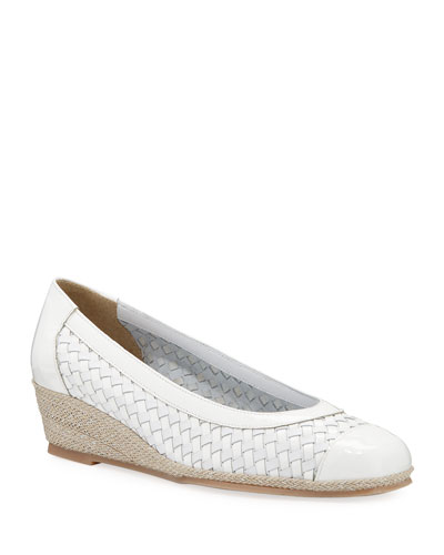 Minty Woven Patent Demi-Wedge Pumps, White