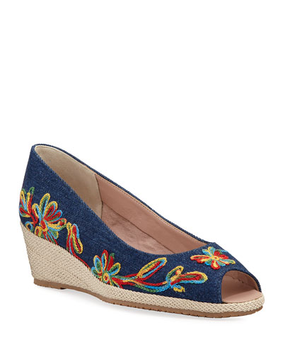 Balmy Embroidered Denim Peep-Toe Pumps