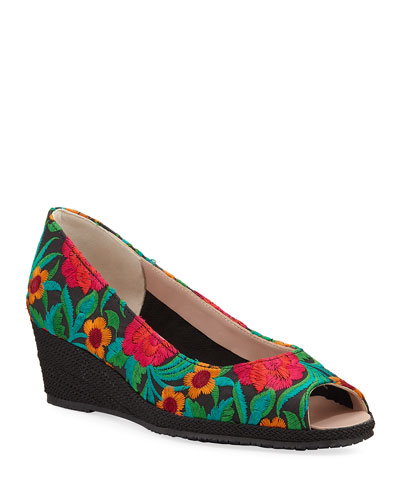 Balmy Embroidered Demi-Wedge Pumps
