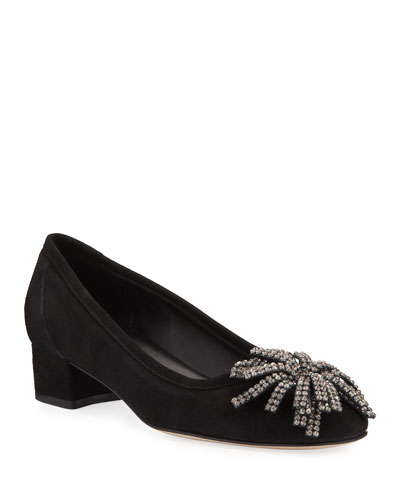 Hope Ornamented Suede Block-Heel Pumps, Black