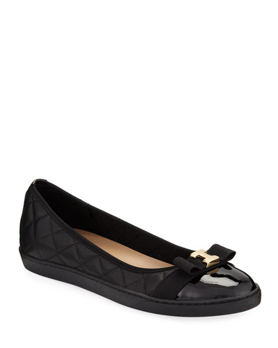 Faline Quilted Leather Sneaker Flats, Black