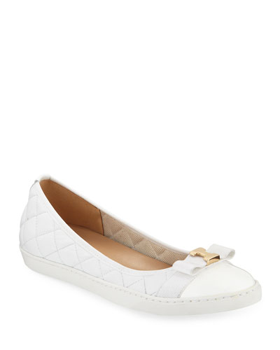 Faline Quilted Leather Sneaker Flats, White
