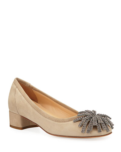 Hope Ornamented Suede Block-Heel Pumps, Beige