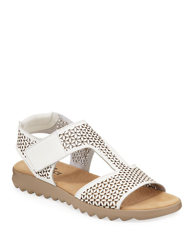 Tony Cutout Leather Comfort Sandals, White