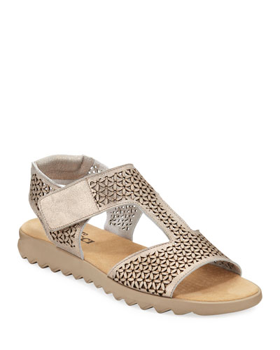 Tony Metallic Leather Comfort Sandals