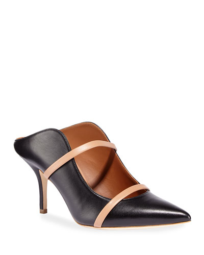 Maureen 75mm Napa Leather Two-Strap Mules