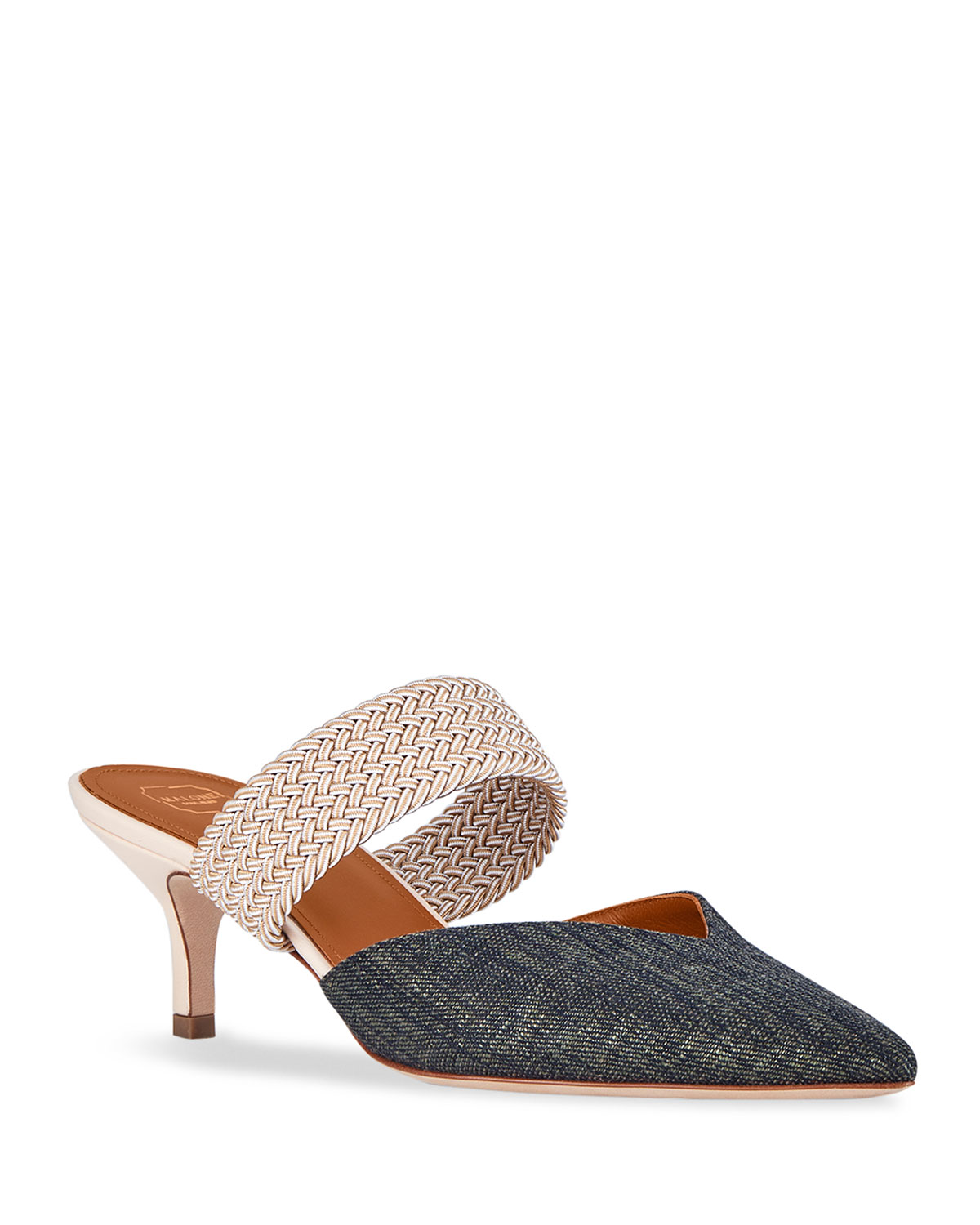 Masie Mixed Raffia and Denim Mules