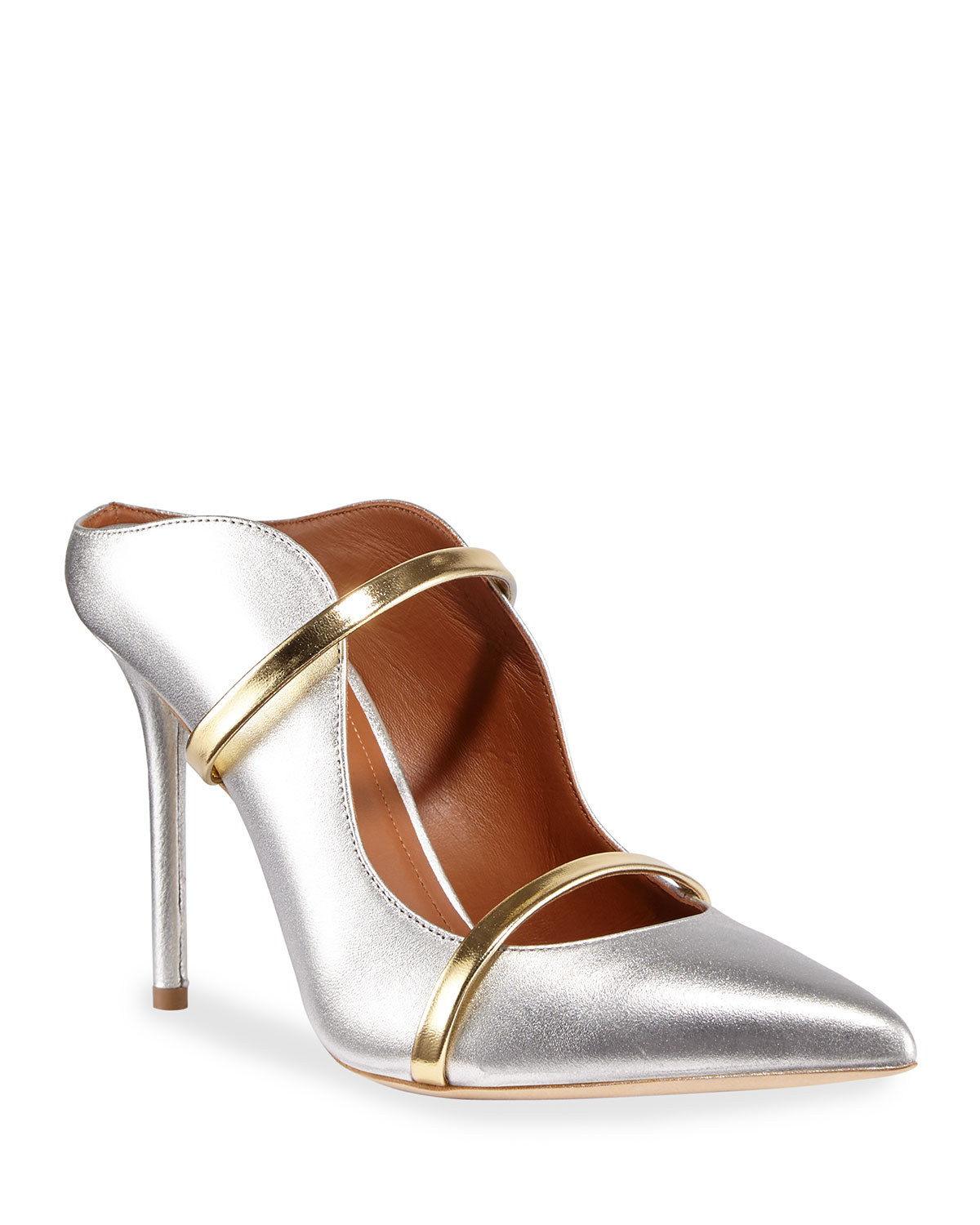 Maureen 100mm Metallic Leather Two-Strap Mules