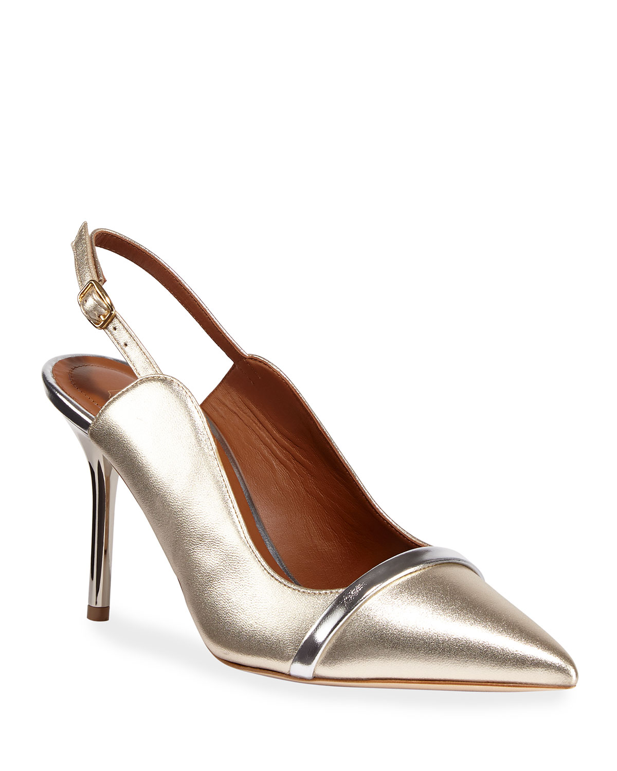 Marion 85mm Metallic Napa Slingback Pumps
