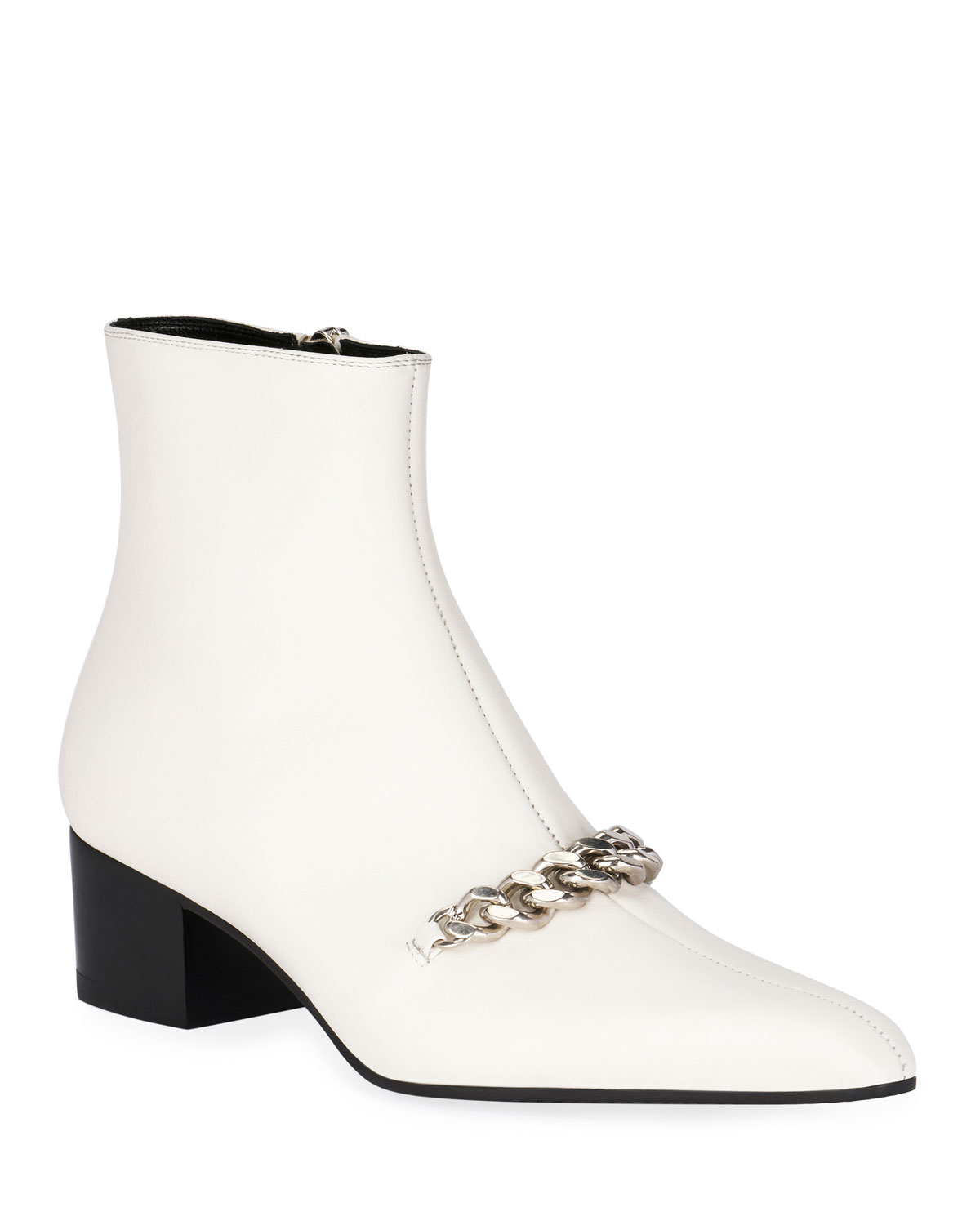 Leather Chain Ankle Booties