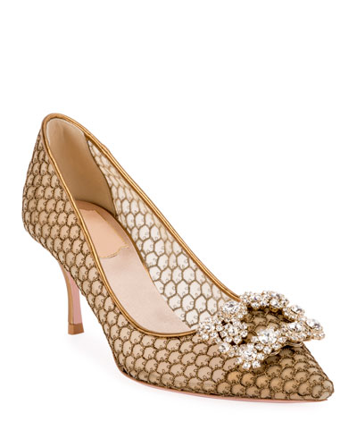 Flower Strass Mesh Pumps