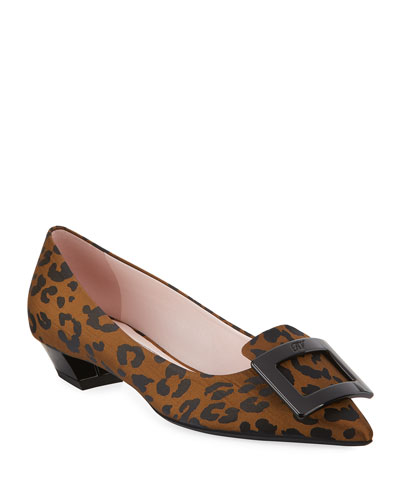 Gommettine Ball Leopard Low-Heel Pumps