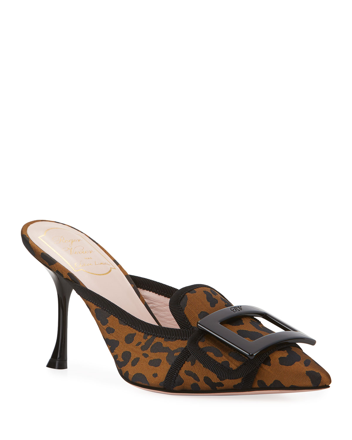 Leopard-Print Mules with Resin Buckle