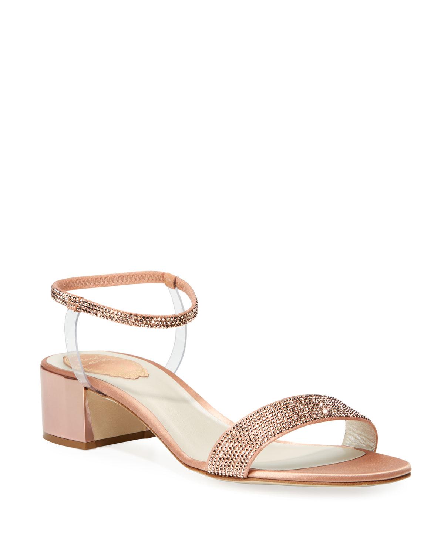 Crystal-Embellished Satin Anklet Sandals