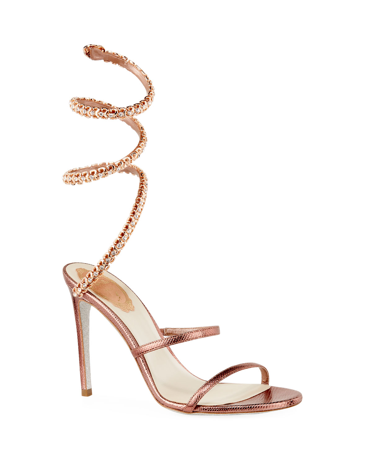 Snake-Coil Lizard Sandals with Crystal Detail