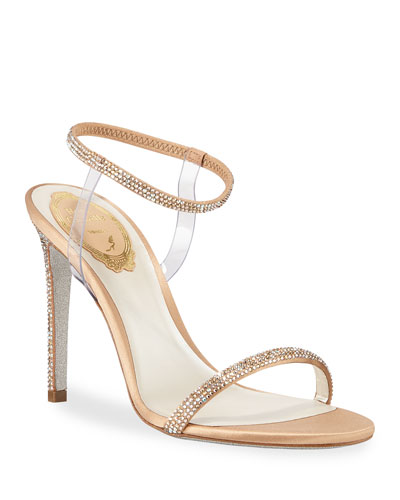 Crystal-Trim 105mm Sandals with PVC Straps, Beige
