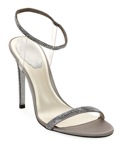 105mm Sandals with See-Through Ankle Wrap