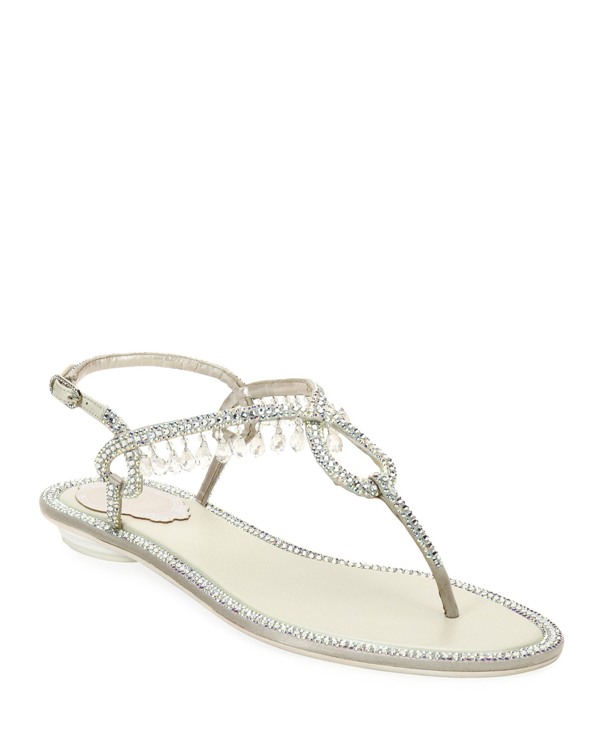 Flat Thong Sandals with Crystal Drops