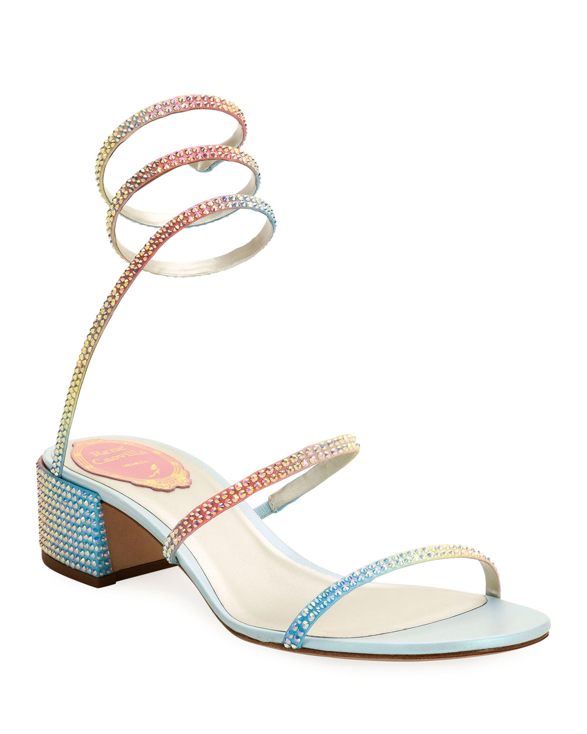 Rainbow Ombre Crystal Snake 40mm Sandals