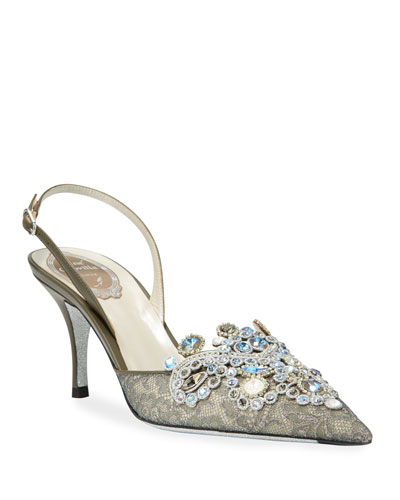 Jeweled Lace Mid-Heel Pumps