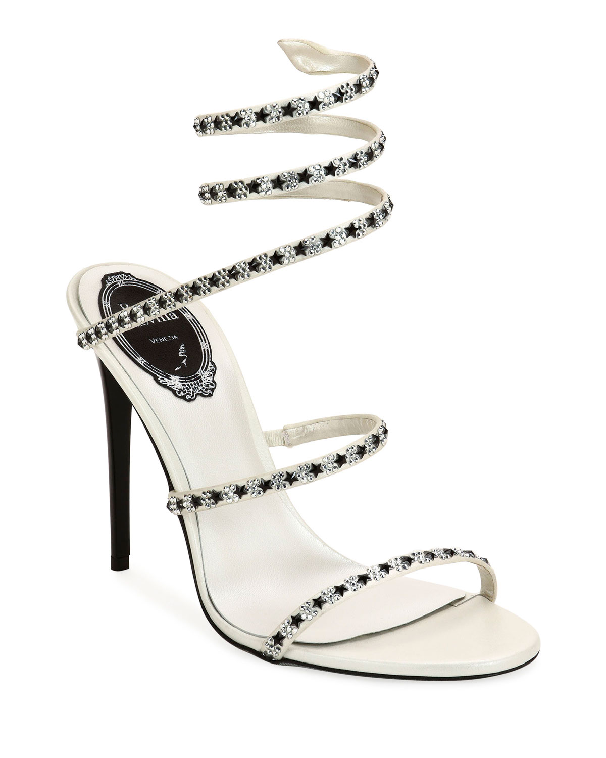 105mm Snake-Ankle Sandals with Stars