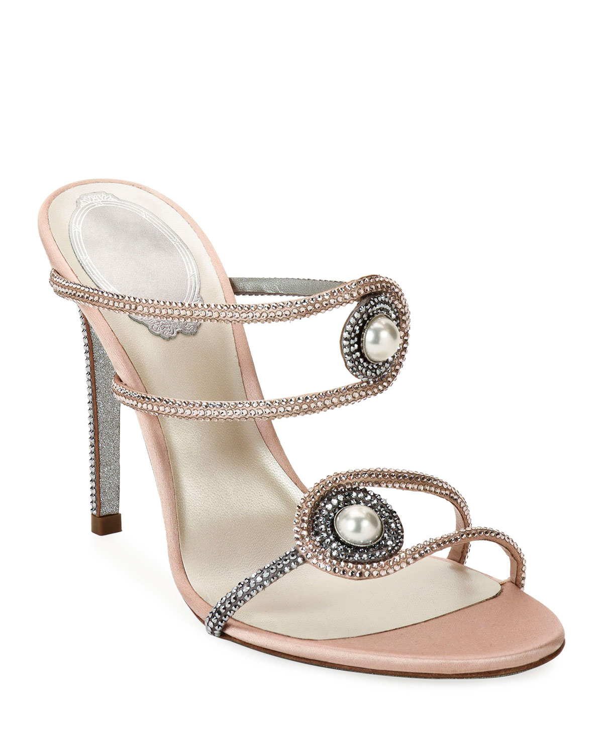 Pearly Embellished High-Heel Satin Sandals