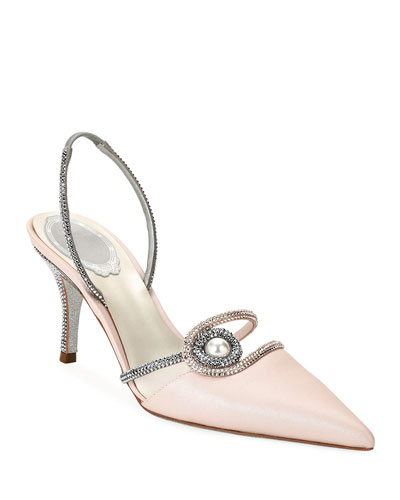 75mm Satin Halter Pumps with Pearl