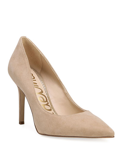 Hazel Suede Point-Toe Pumps
