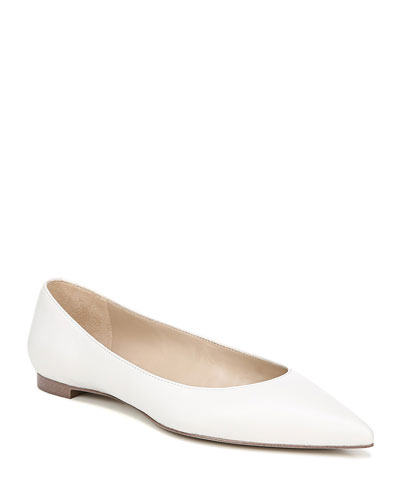 Sally Pointed-Toe Leather Flats