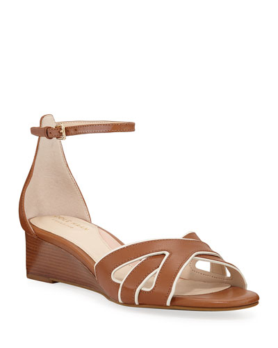 Hanna Grand Demi-Wedge Leather Sandals