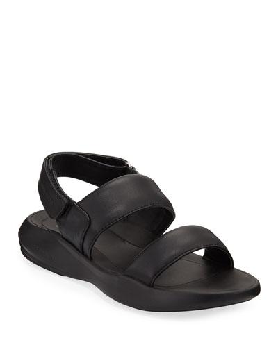 Ella Grand Leather Slingback Sandals, Black