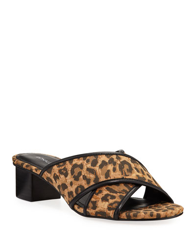 Mally Low-Heel Leopard Cork Sandals