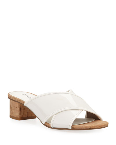 Mally Low-Heel Patent Slide Sandals
