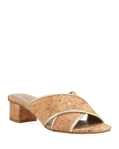 Mally Metallic Cork Slide Sandals