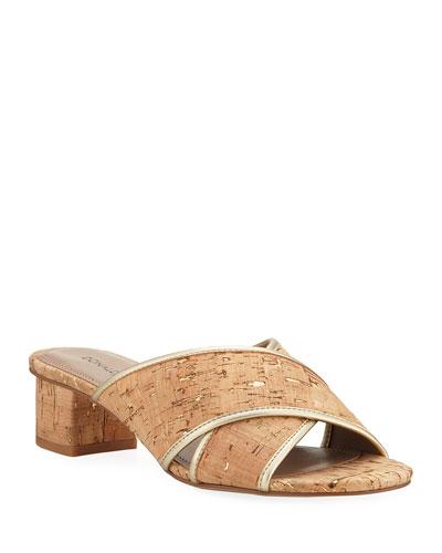 Mally Metallic Cork Slide Sandals