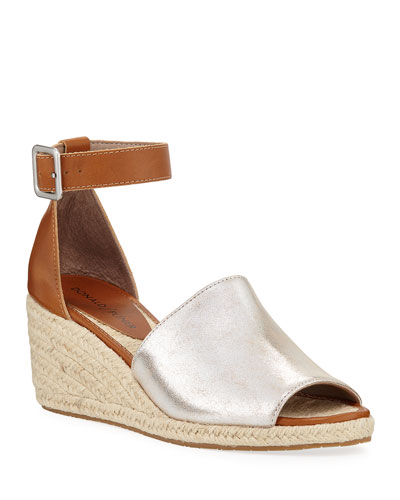 Cacie Ankle-Strap Metallic Wedge Espadrilles