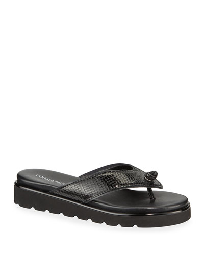 Leanne Snake-Print Leather Thong Sandals