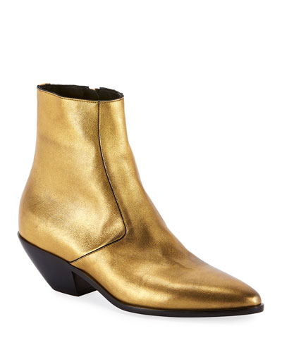 West Metallic Zip Booties