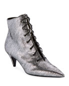 Saint Laurent Charlotte Metallic Lace-Up Booties