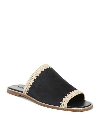 Padmore Raffia-Trim Suede Slide Sandals