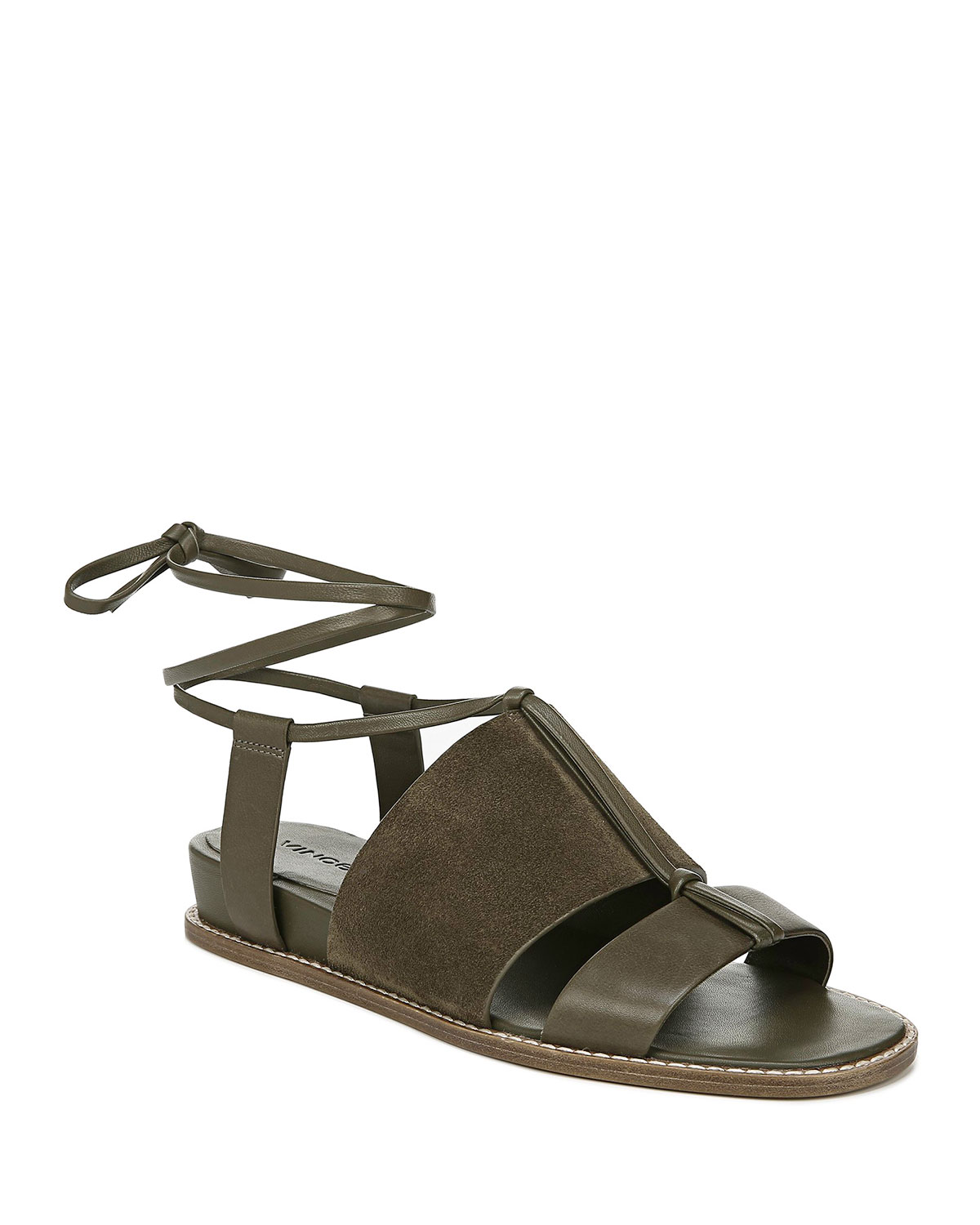 Forster Flat Leather Ankle-Tie Sandals