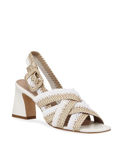 Vara Metallic Woven Sandals