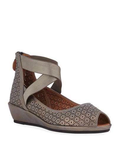 Lisa Metallic Demi-Wedge Comfort Sandals