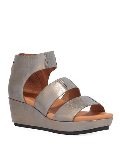 Milena Metallic Demi-Wedge Sandals