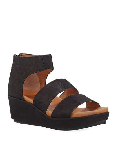Milena Leather Demi-Wedge Sandals