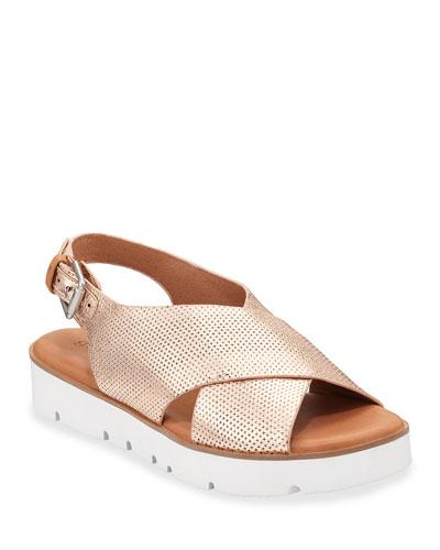 Prisca Metallic Leather Slingback Sandals