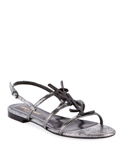 Cassandre YSL Logo Flat Metallic Sandals
