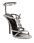 Saint Laurent Cassandre Metallic YSL Sandals