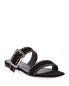 Saint Laurent Oak Flat Suede Sandals