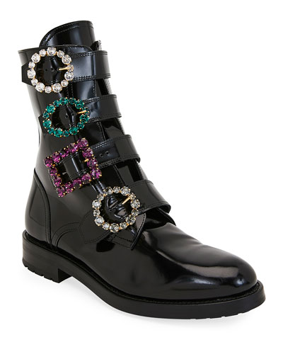 Flat Patent Booties with Crystal Buckles
